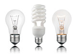 Two Normal and One Saver Lightbulbs with Reflection poster
