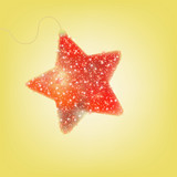 Postcard with a twinkling red star. EPS 8 poster