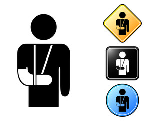 Injured man pictogram and signs