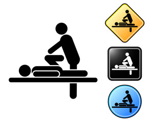Massage pictogram and signs