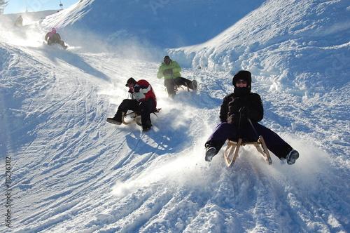 Deurstickers Alpen Rodeln in Österreich