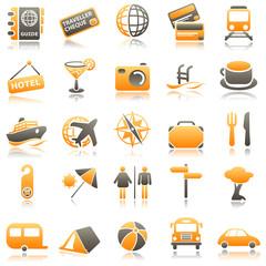 Travel Orange Icons