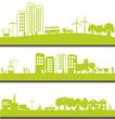 transport  et vie urbaine sur bannières verte