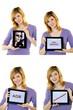 4x junge Frau mit Tablet-PC (weisser Hintergrund)