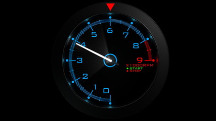 Tachometer isolated on black (HD, loop, 30fps, 3d)