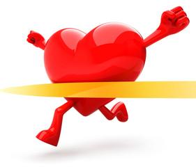 Haert shaped mascot running