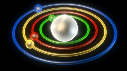 color conceptual structure of atom on black background