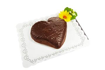 A whole dark chocolate cake