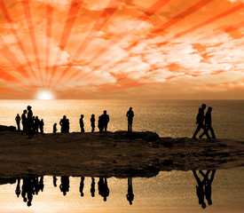 reflection of people on the cliff edge
