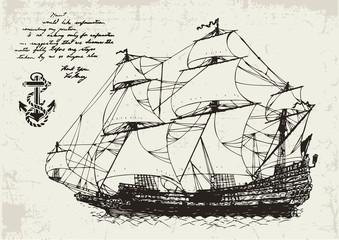 Ancient Sailing Ship and Anchor