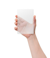 Hand holding mobile device, blank screen