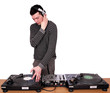 dj with headphones play music