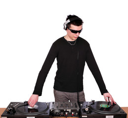dj with sunglasses play music