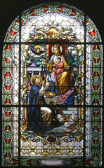 Virgin Mary with baby Jesus and Saint Dominic