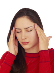 Young woman having a headache ,isolated on white background