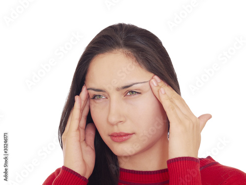 Young woman having a headache, isolated on white background