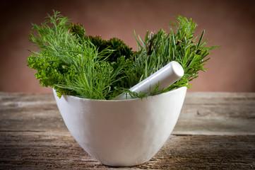 aromatic herbs over mortar-erbe aromatine e mortaio