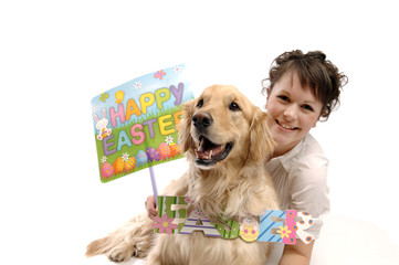 Young pretty woman, dog and Easter