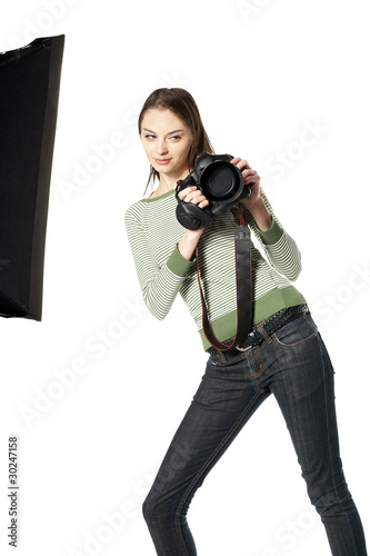Girlwith screw eyes- photographer in studio
