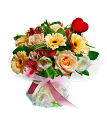 bouquet of lilias, roses and gerberas