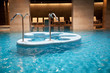 Empty Spa pool with waterfall jet, whirlpools and jacuzzi
