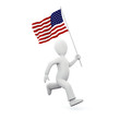 Illustration of a 3d man holding an american flag