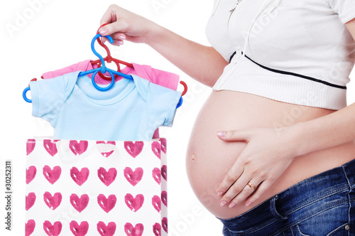 Pregnant woman having shopping for a baby