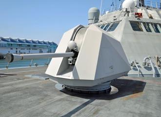 The 57mm Naval Gun onboard a Modern Warship.