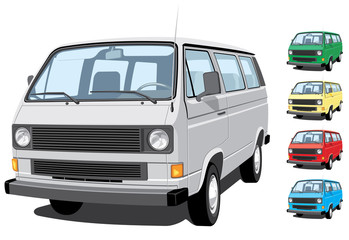 Vector isolated mini van  without gradients