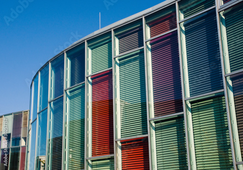Colourful glass facade