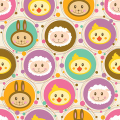 Seamless pattern with cartoon toys