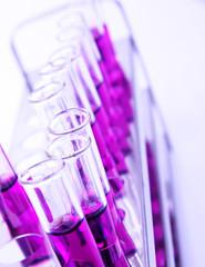 Vials of purple liguid sample