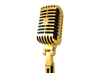 Gold vintage microphone
