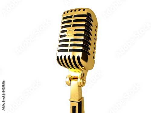 Gold vintage microphone