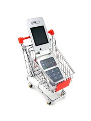 A mobile cell phone in a shopping trolley