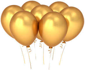 Party balloons colored shiny golden. Wealth decoration concept