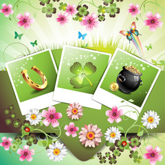 St. Patrick's Day card design. with flowers and photos
