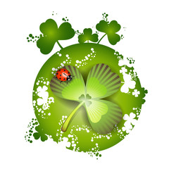 St. Patrick's Day card design and clover and ladybug