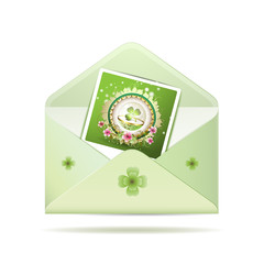 Envelope with photo and clover for St. Patrick's Day
