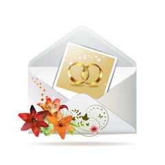 Envelope with photo of two wedding ring, isolated on white