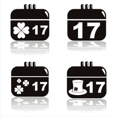 set of 4 black st. patrick's day calendar icons