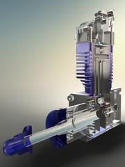 Motor Zweitakter Blau
