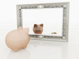 Piggy at the mirror poster