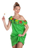 Young joyful  female in greed summer dress with candy poster