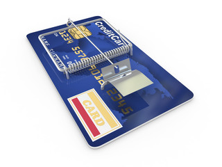Credit card as mousetrap. Conceptual image