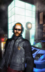 futuristic cyberpunk city street