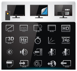 Vector TV features and specifications icon set
