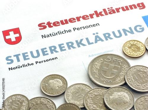 Leinwanddruck Bild Steuererklärung - Schweiz