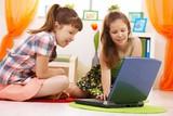 Schoolchildren using internet poster