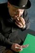 Man plays cards